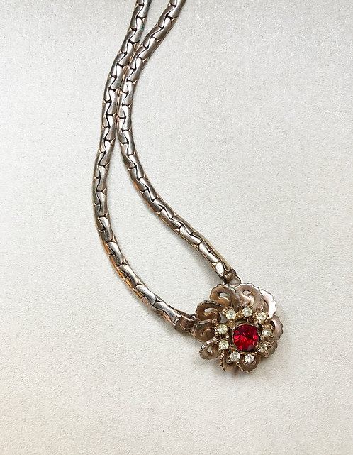 VINTAGE FLORAL PENDANT NECKLACE (red & clear rhinestones)