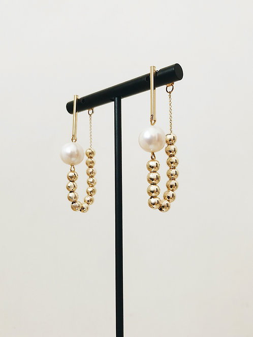Sphere Chain Connected Earrings