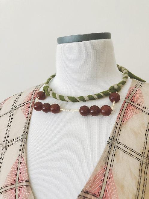 Fabric choker - Green Stripe