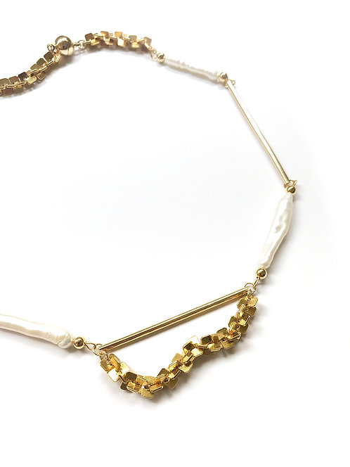 ir. Freshwater Pearls Necklace - Vintage Chain