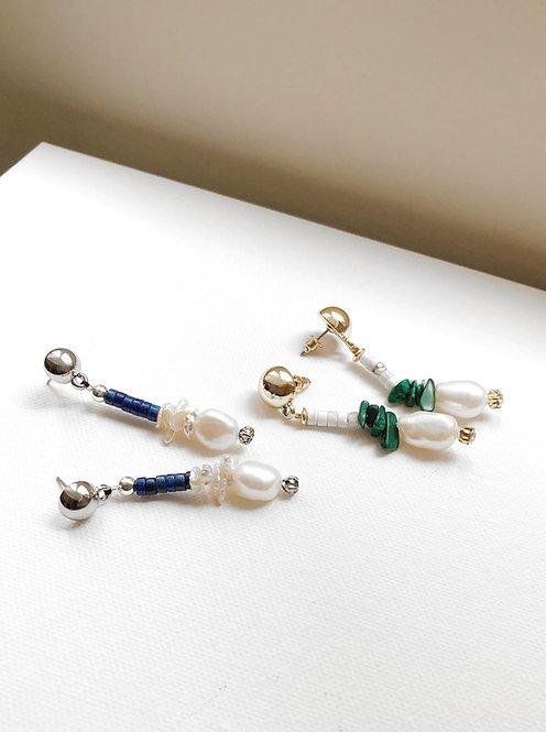 Pearl Drop Earrings - Malachite chips