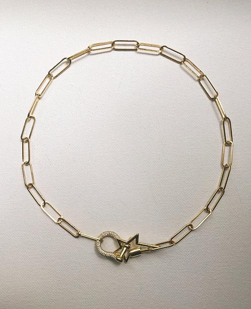 Stoned lock & rockstar lock set neckace