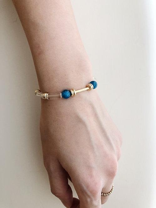 Apatite clear quartz bracelet