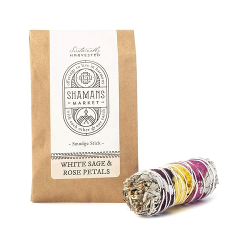 White Sage & Rose Petal Smudge Stick