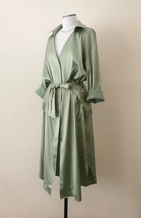 Silky Shirt Dress - Pale Green