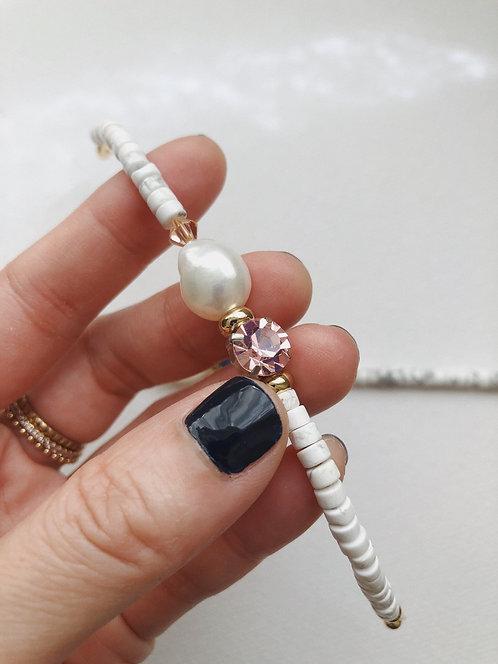 Stoned pearl bracelet - pink