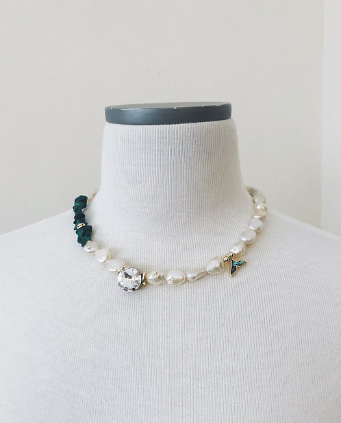 Rhinestone Malachite Necklace