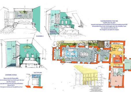 esquisses réaménagement et rénovation d'une maison