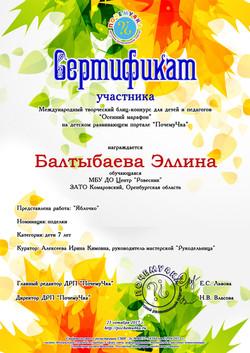 Балтыбаева Эллина