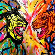 Bermano Let's Chat 40 x 30 inches Acrylic on canvas