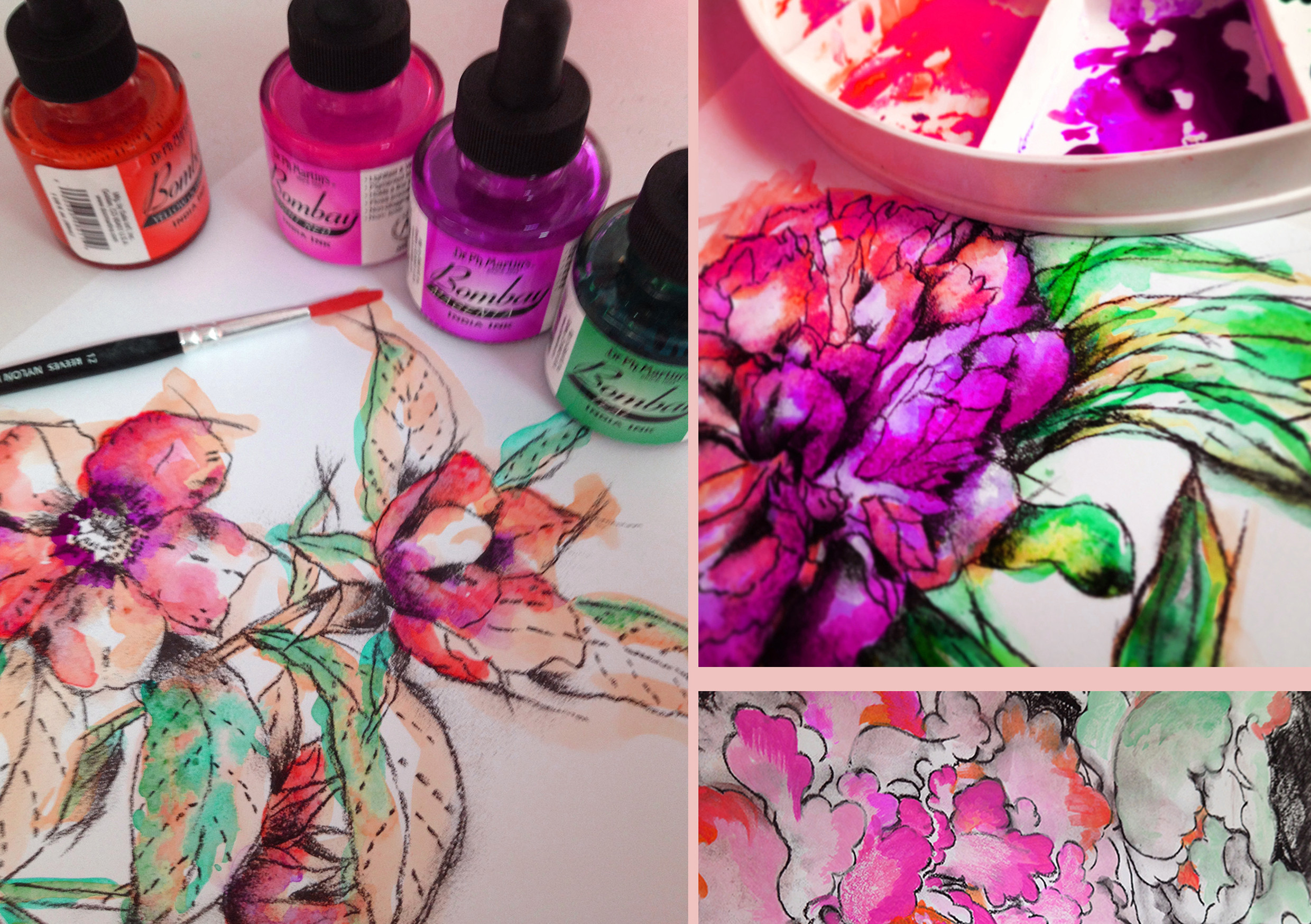 Mixed Media Flower Drawing - 17th March
