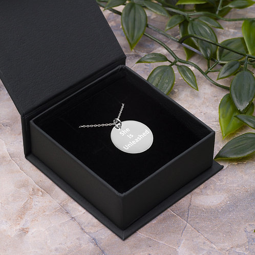 She Is Unleashed Engraved Silver Disc Necklace