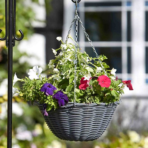 14in Slate Faux Rattan Hanging Basket