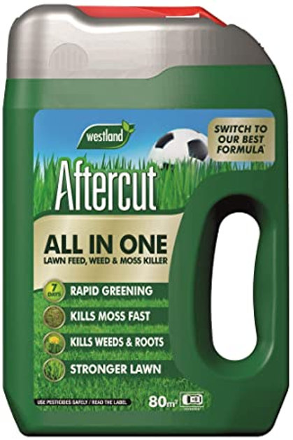 Aftercut All In One Lawn Feed, Weed & Moss Killer- 80m2 spreader