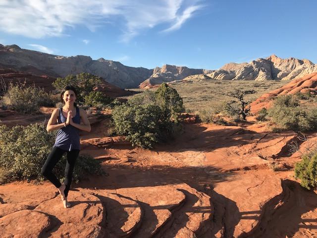 Yoga Balancing Pose in Snow Canyon