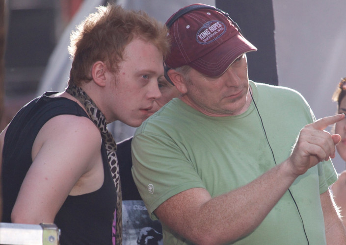 RupertGrint and director RandallMiller_CBGBmovie set.jpg