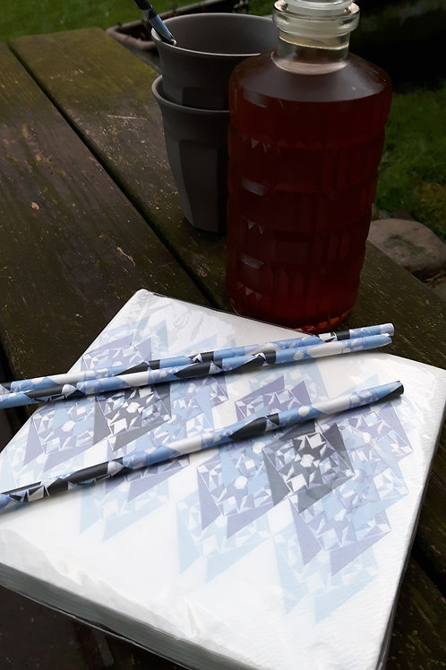 Mønstrede sugerør - Blå