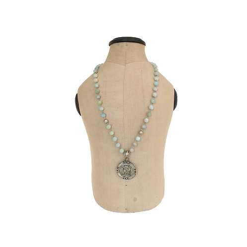 French Kande Aquamarine Single Stand Necklace