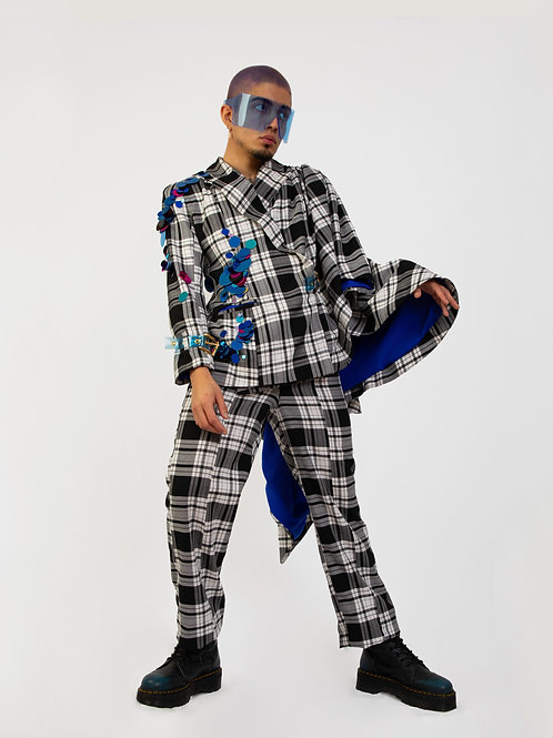 Tartan two piece embellished suit