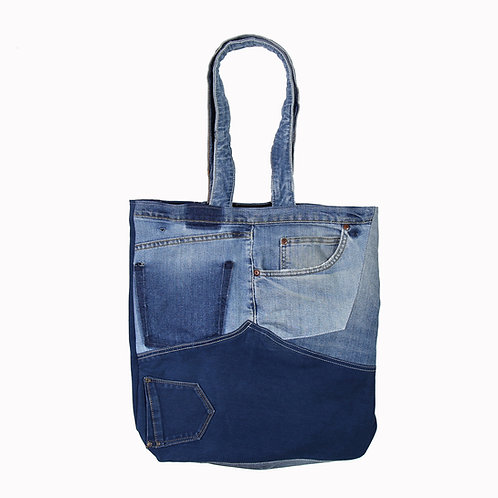 Recycled denim patchwork bag