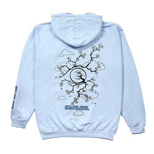 Blue SS21 blossom print hoodie
