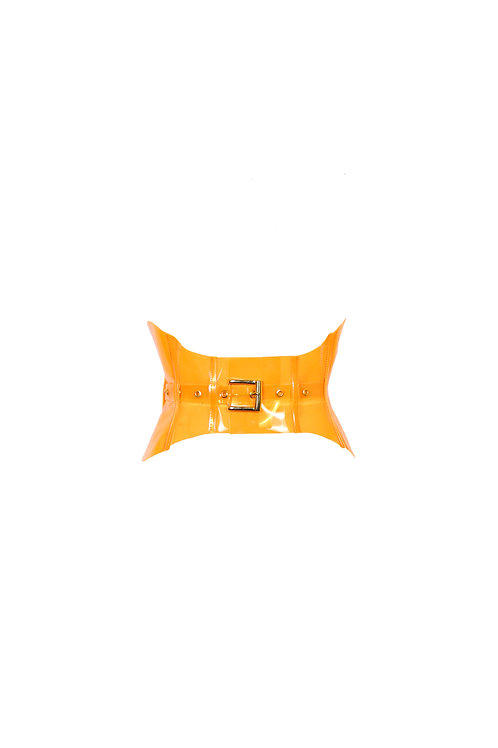 Orange pvc corset belt