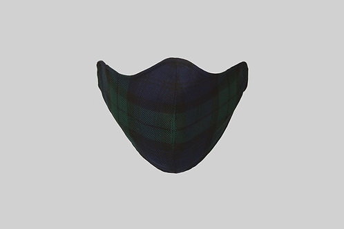 Navy blackwatch tartan face mask