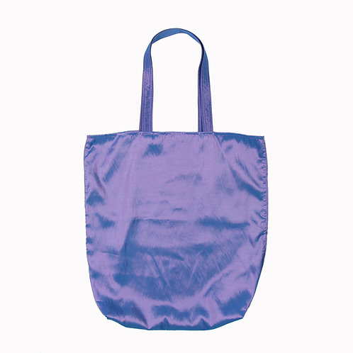 Purple taffeta tote bag