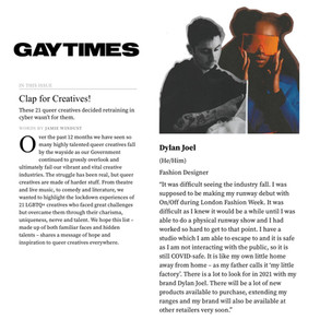 Gay Times March 2021 Interview