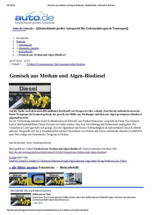 Auto.de - Gemisch aus Methan und Algen-Biodiesel