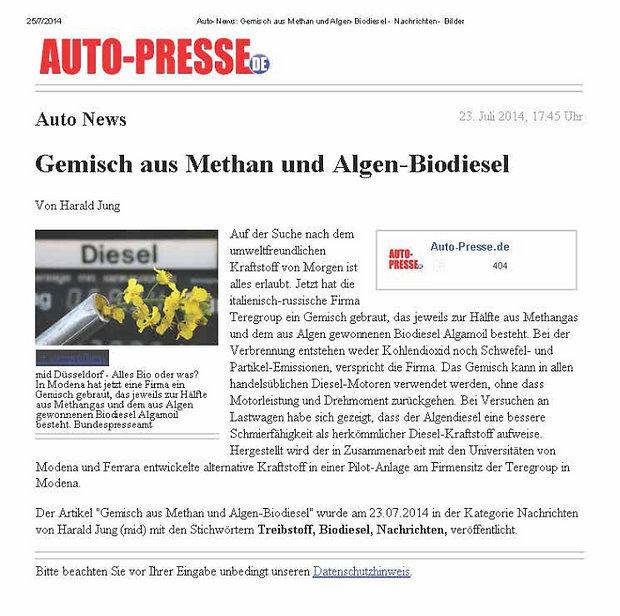 Auto-presse.de - Gemisch aus Methan und Algen-Biodiesel