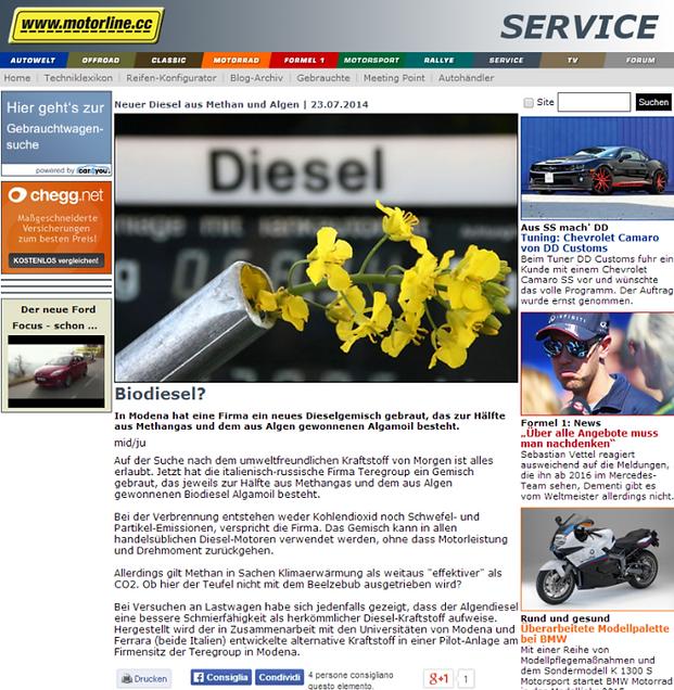 motorline.cc - Neuer Diesel aud Methan und Algen