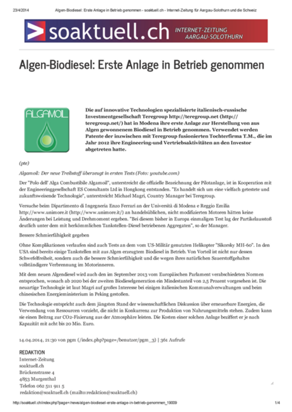 soaktuell.ch - Algen-Biodiesel