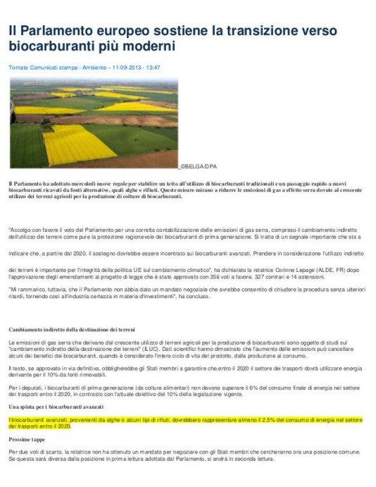 Il parlamento europeo sostiene la transizione verso biocarburanti più moderni