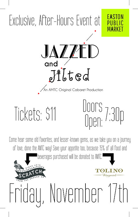 """1 Ticket to """"Jazzed and Jilted"""" on November 17th at 7:30pm"""