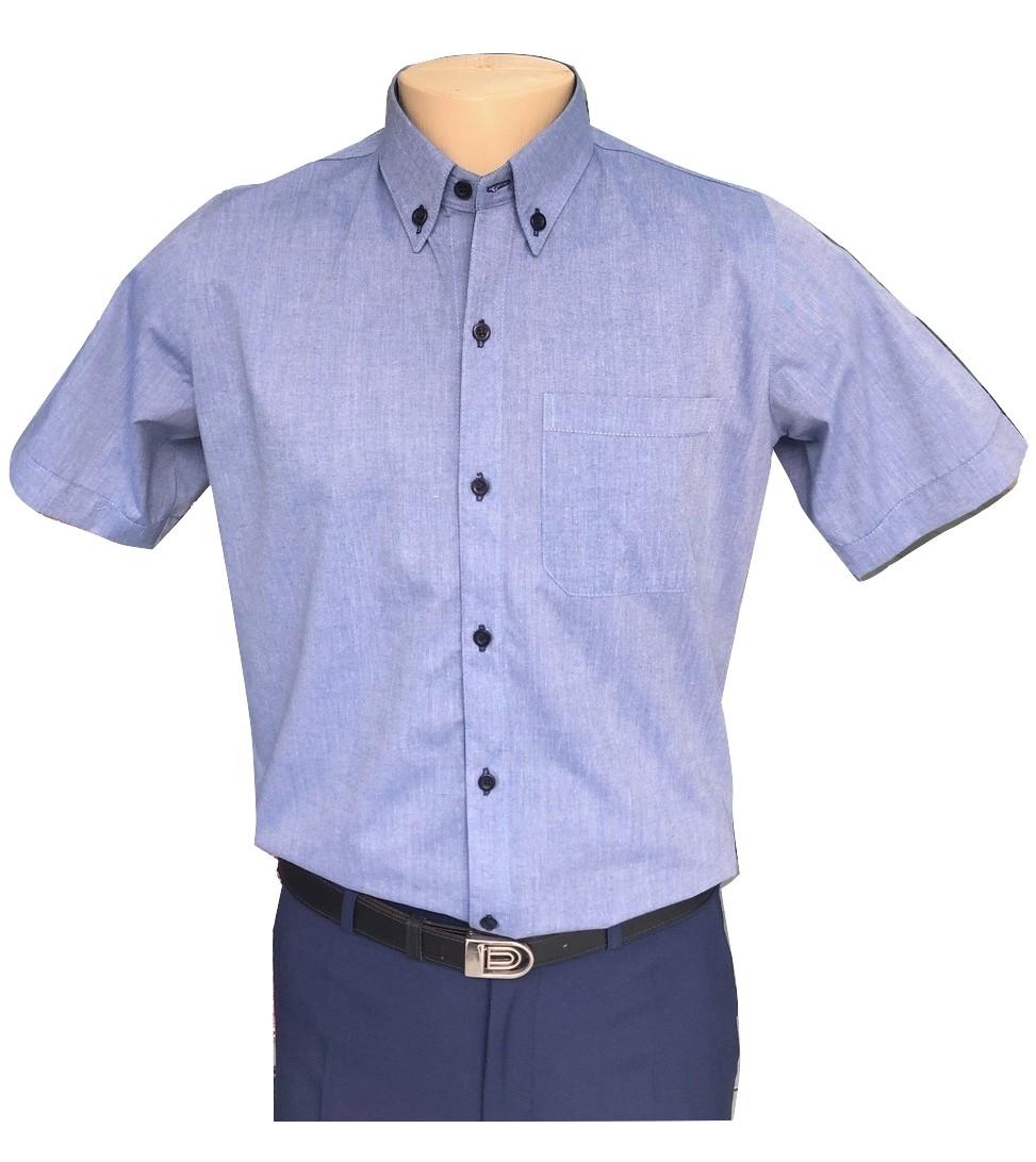 Camisa social az. jeans com detalhes