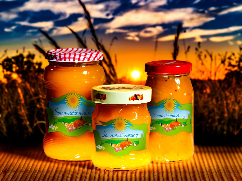 Entwurf Etikett Sommererinnerung Marmela