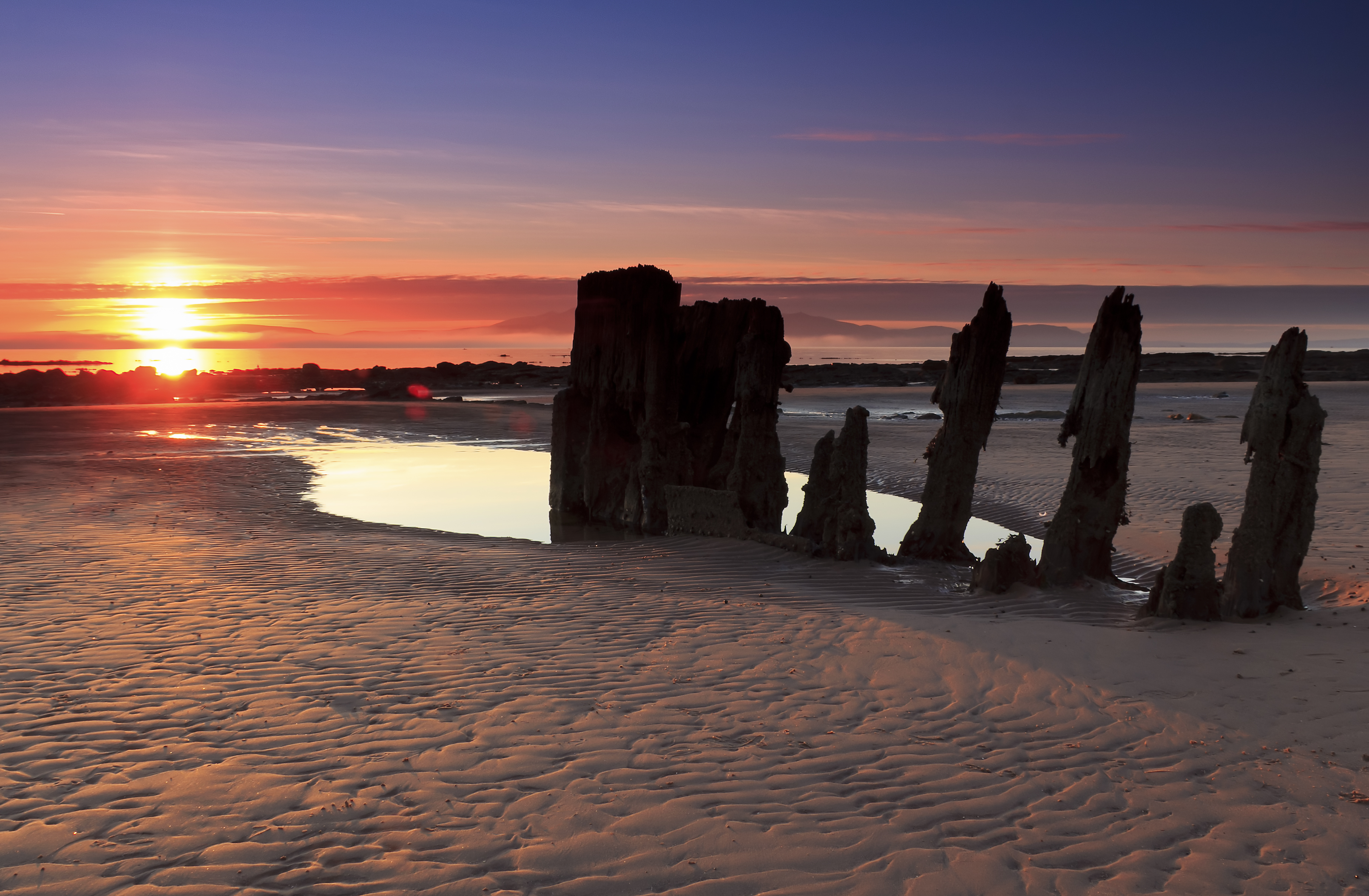 Sunset at Seamill wreck S1