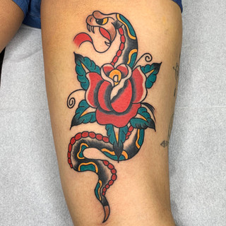 rose snake tattoo