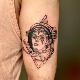 Space girl tattoo