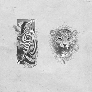 flower animal tattoo design