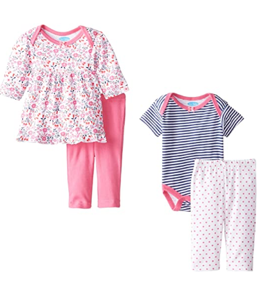 BON BEBE Baby-Girls Newborn Floral and Stripes Mix and Match Legging Set, Multi, 0-3 Months