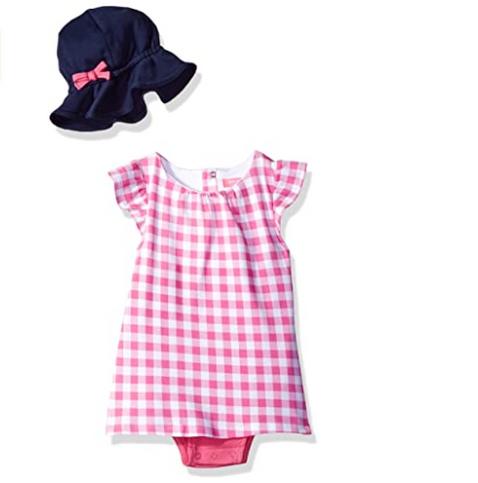 Isaac Mizrahi Baby Girls' 2 Piece Sundress with Sunhat, 12 Months