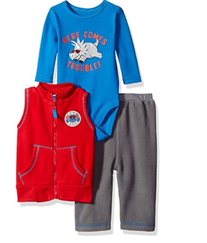 BON BEBE Boys' 3 Piece Microfleece Vest and Pant Set with Side Snap Bodysuit, Here Comes Trouble Red, 12 Months