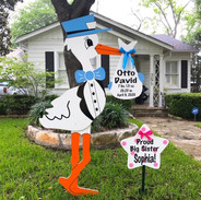 Blue Stork with Sibling Sign