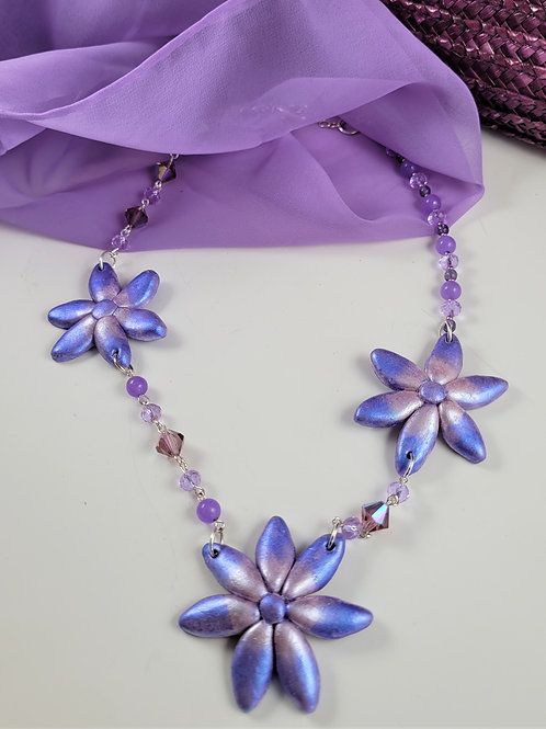 Purple Hand Wired Floral Necklace