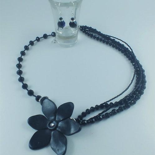 Black Flower Asymmetrical Necklace
