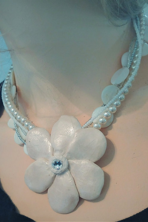 Hand sculpted White Flower Necklace