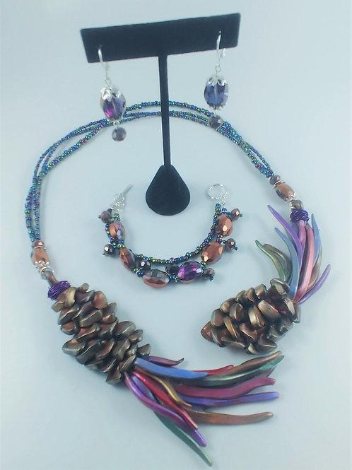 Colorful Pinecone Wrap Necklace Set