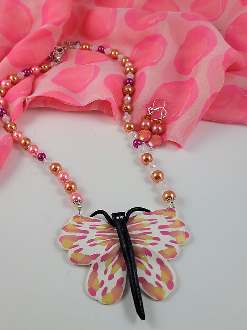 White & Pink Cane Butterfly